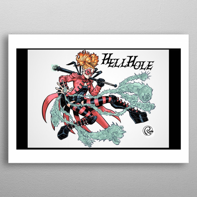 Archeologist Lilith Medea fights evil using demons from a hole in her hand.   metal poster