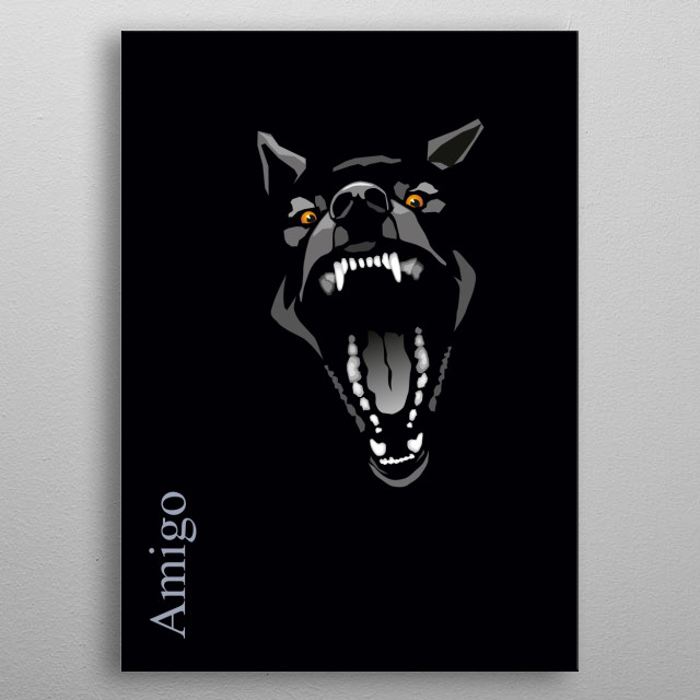 illustration of stylized angry black dog metal poster