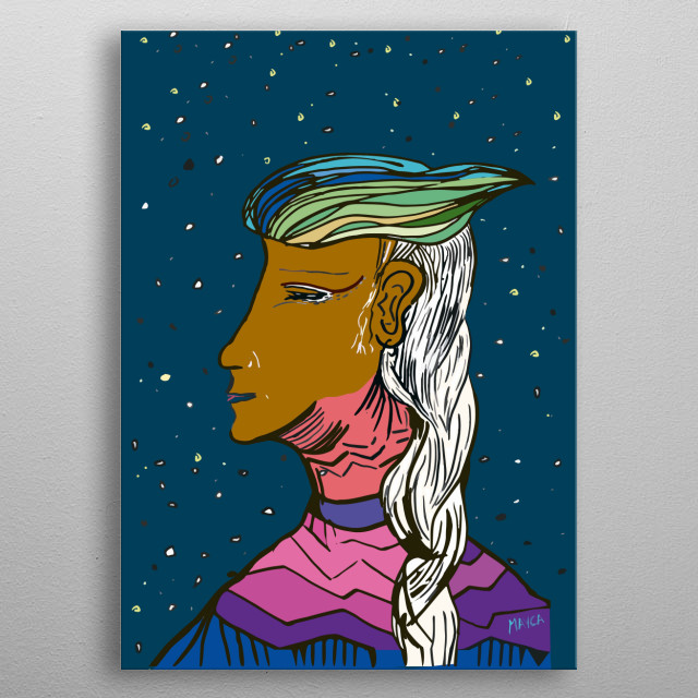 The women blue bird is the moment of wisdom. These is the moment when women are the messengers of diverse information from the up world. metal poster