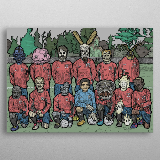 Illustration of a soccer/football team composed of humans and fantasy creatures metal poster