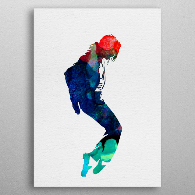 Watercolor painting of legendary music icon Michael Jackson. metal poster
