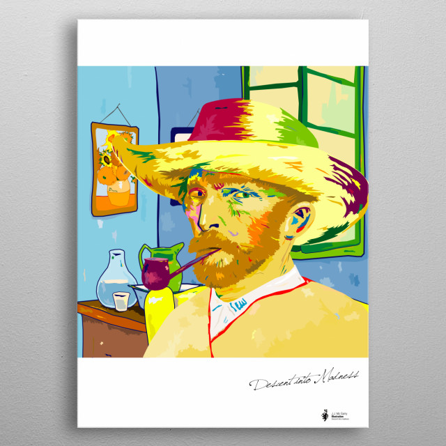 Illustration of Van Gogh sitting at home in turmoil, two days before he cut of his ear metal poster