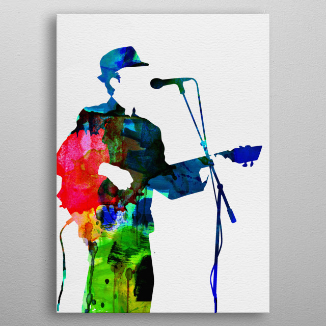Watercolor painting of legendary music icon Leonard Cohen. metal poster