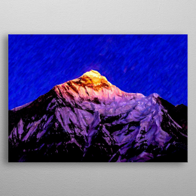 Nanda Devi is a two peaked massif are referred to as the twin peaks of the Goddess Nanda are the highest  mountains in the Indian Himalayas  metal poster