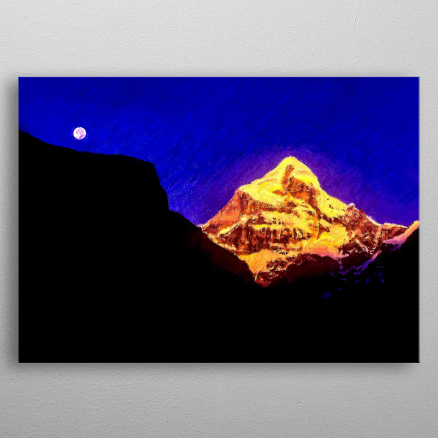 Neelakant ) is a major peak of the Garhwal  Himalayas, towers dramatically over the Hindu Holy town of Badrinath in Uttarakhad, India. metal poster
