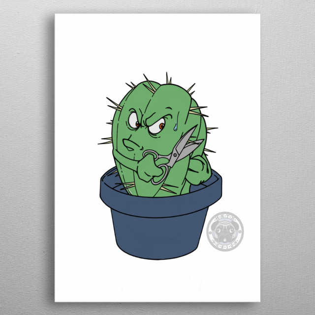 This cactus is not so happy  metal poster