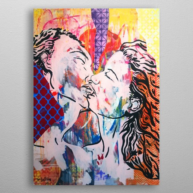 Two lovers sharing a kiss. metal poster
