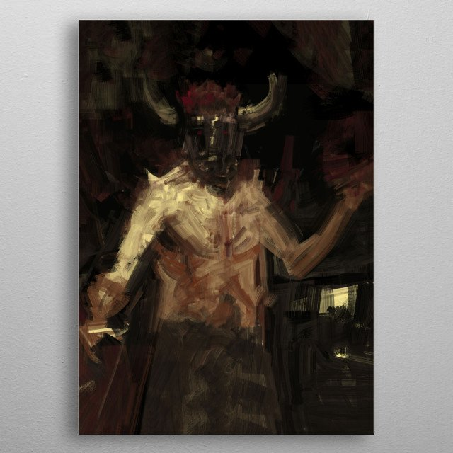 Digital traditional painting of a demon fighting concept art illustration metal poster