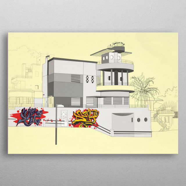 illustration of a house near the river metal poster
