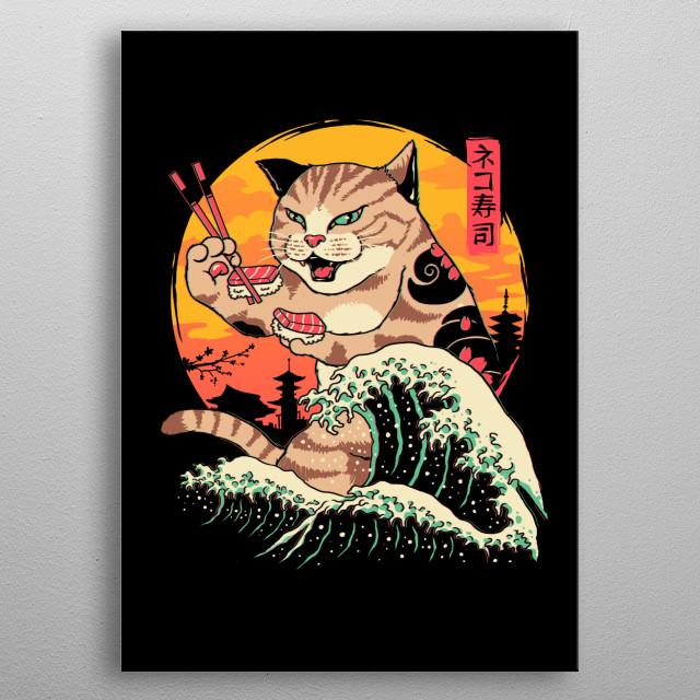 Retro wave cat that eats sushi. metal poster