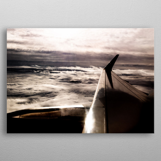 Flying between 2 cloud layers over Europe. This picture was taken on an Airbus A320.  metal poster