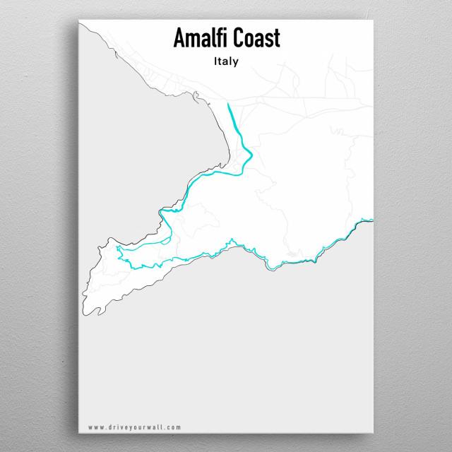 Amalfi Coast Road Map Mancave Poster Print Metal Posters