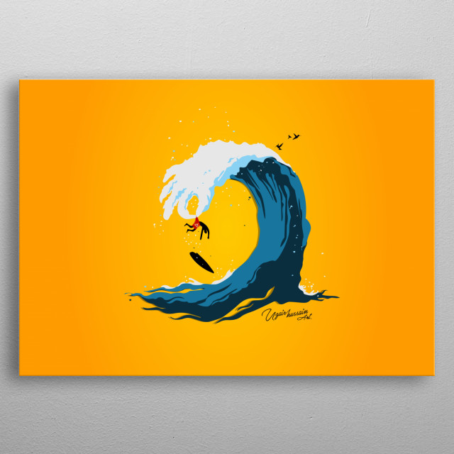 WATER WAVE with human body created with nature and its natural colors. water causes playing with water. metal poster