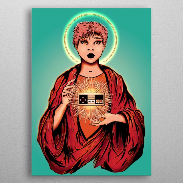 Digital Illustration of a gamer girl with a retro controller inspired by (The Sacred Heart Painting) aimed to the golden generation. metal poster