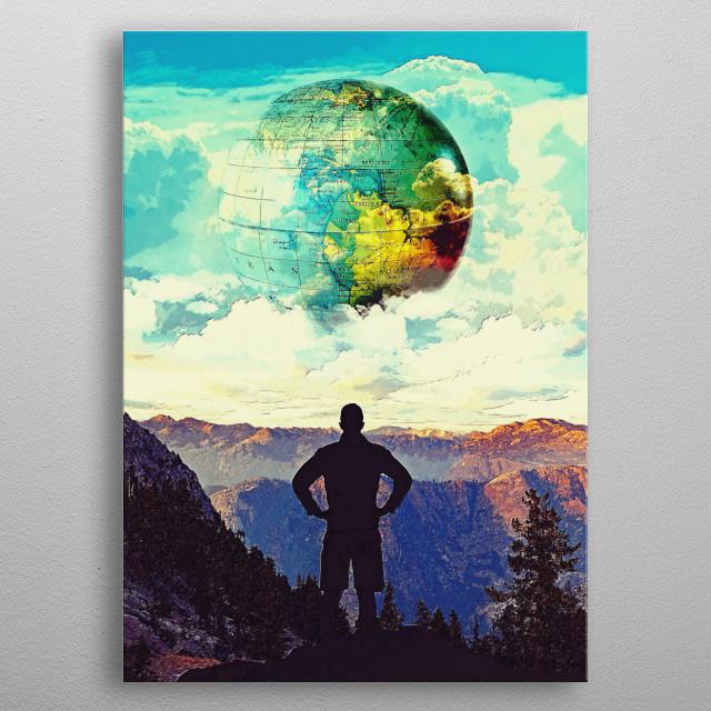 Digital illustration of a man walking through the mountains metal poster