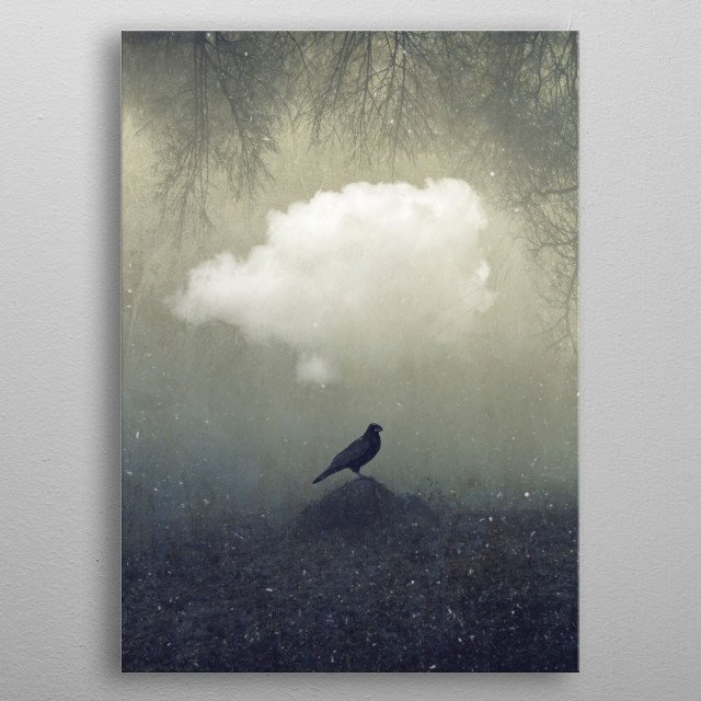 Rave sitting on a small earth mound with a cloud and hanging trees above - surreal imagery metal poster