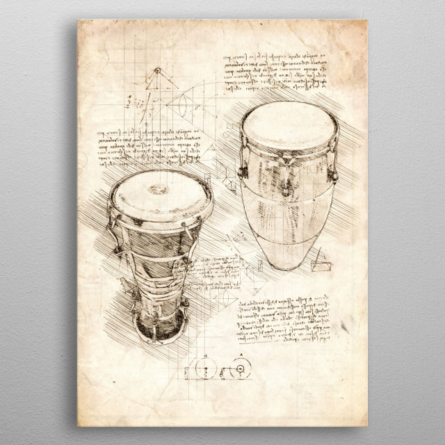Sketch of two Bongo Drums metal poster