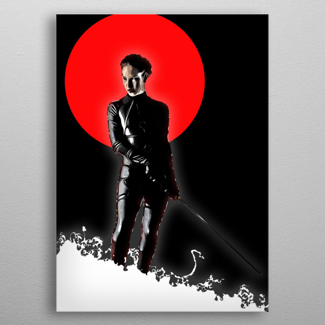 A female warrior under a bloodred moon metal poster
