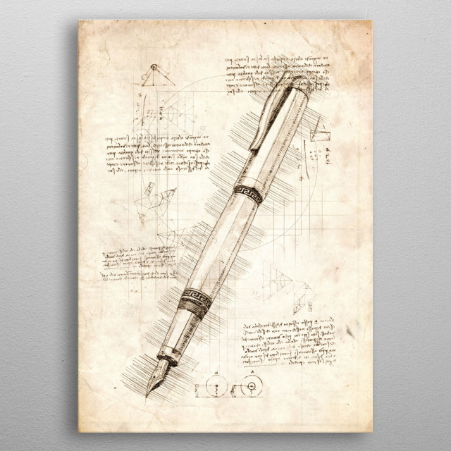 Sketch of a Fountain Pen metal poster