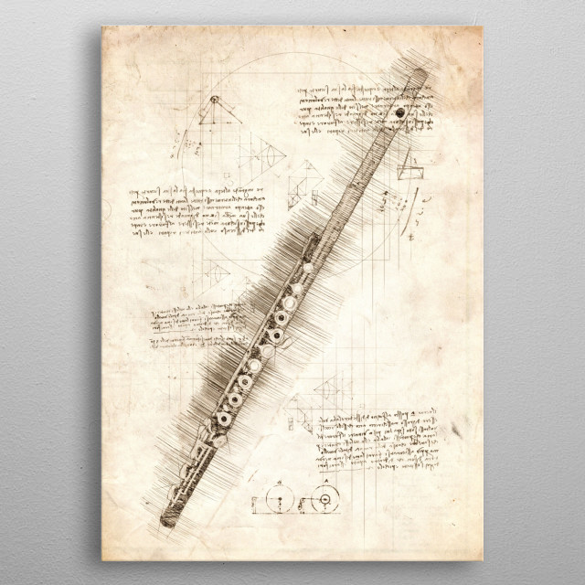 Sketch of a Flute metal poster