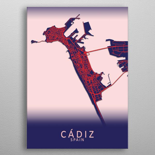 Cadiz Spain City Map metal poster