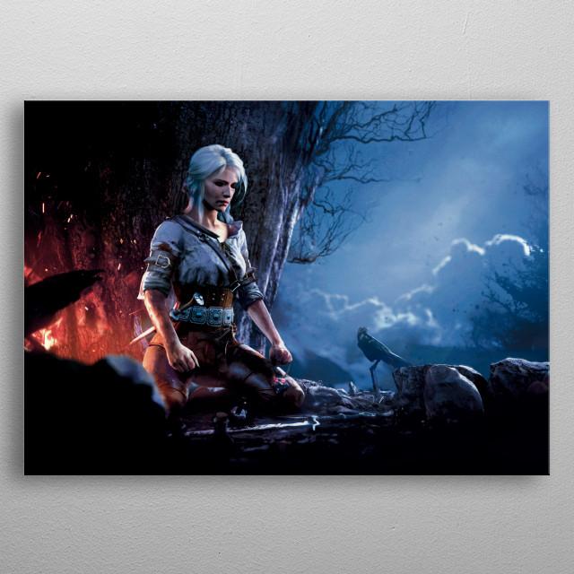 Meditating Ciri metal poster