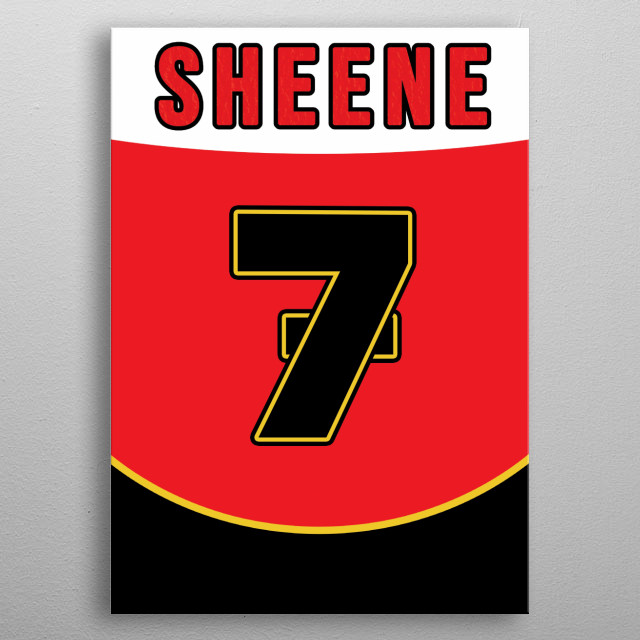 The British Motorcycling legend Barry Sheene, inspired by the back of his racing suit. metal poster