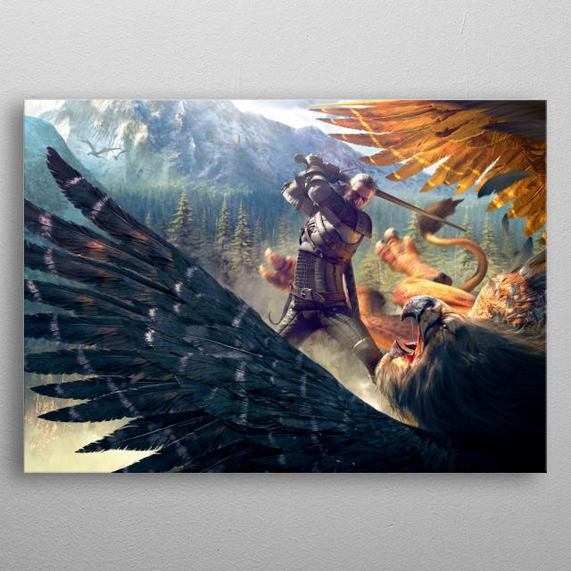 Geralt batteling Griffin metal poster