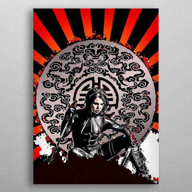 A female ninja is guarding the entrance  metal poster