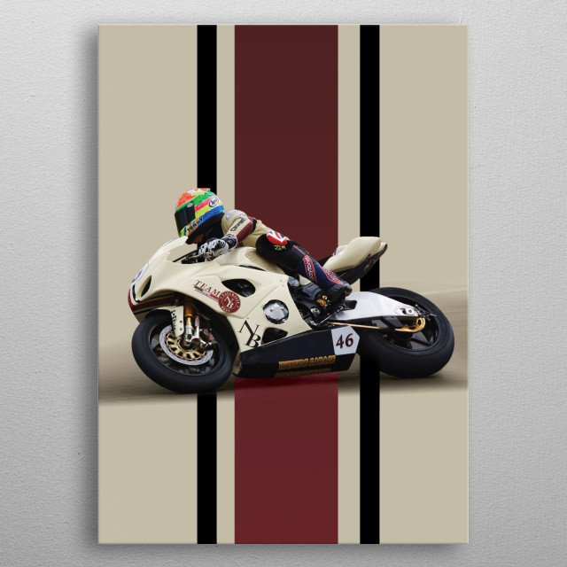 Graphic of Tommy Bridewell on board the Naturally Best Suzuki he rode in British Superbikes. metal poster