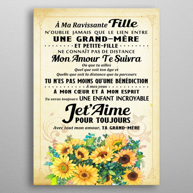Sunflower Poster Text Art Poster Print Metal Posters