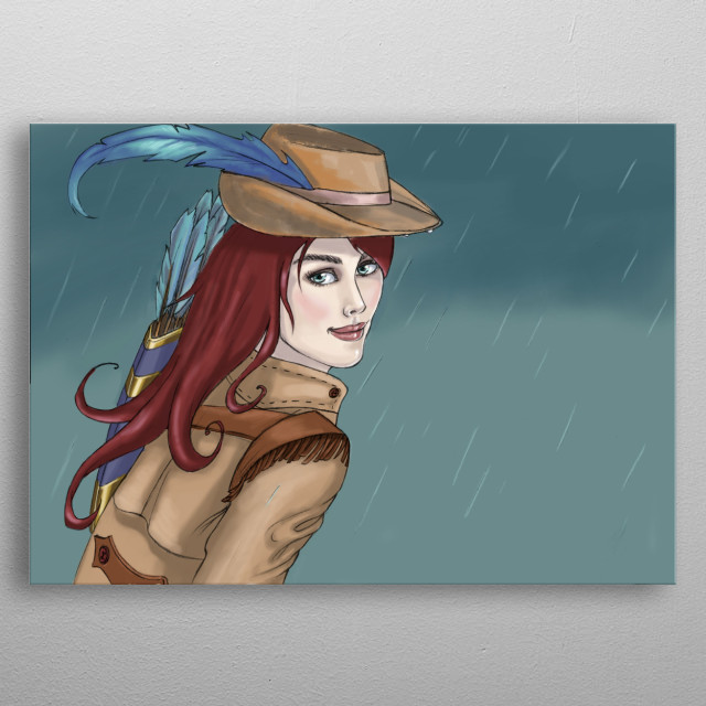 Illustration of female version Robin Hood metal poster