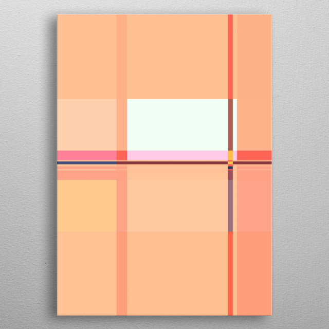 SOFT COLORED CORAL-PINK GEOMETRIC GRAPHIC DESIGN, INSPIRED OF SPRING & BAUHAUS. ©5-2019 by Pia Schneider | atelier COLOUR-VISION. metal poster