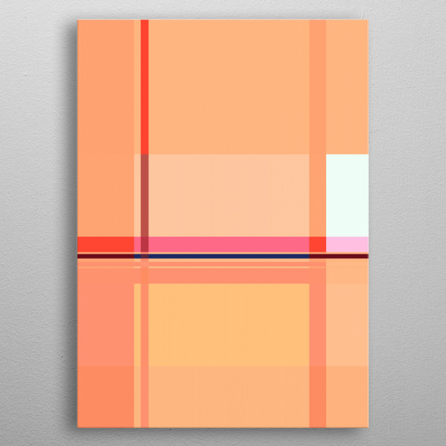 SOFT COLORED CORAL ORANGE GEOMETRIC GRAPHIC DESIGN, INSPIRED OF SPRING & BAUHAUS. ©5-2019 by Pia Schneider | atelier COLOUR-VISION. metal poster