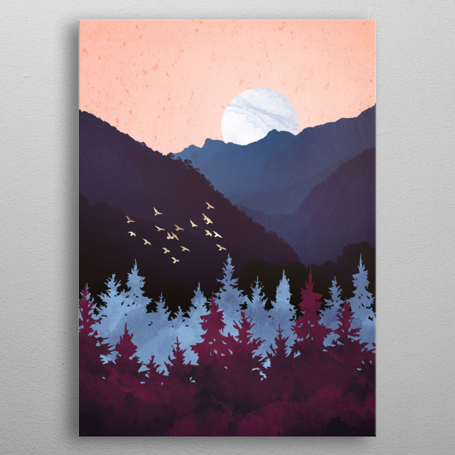Abstract landscape of a mulberry dusk night with coral, indigo, purple and gold metal poster