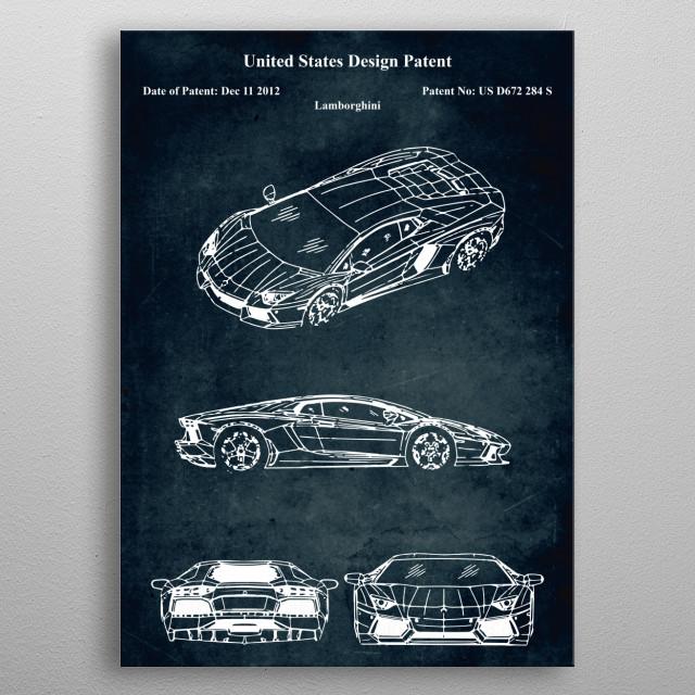Patent car metal poster