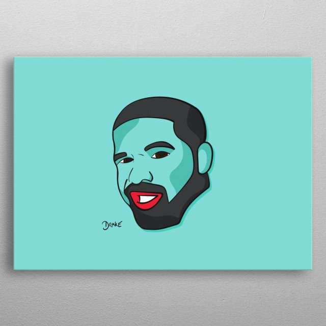 Drake illustration, minimal and vibrant, inspired by a pop art/Warhol style. Hip Hop fans will love this, will stand out on any wall metal poster