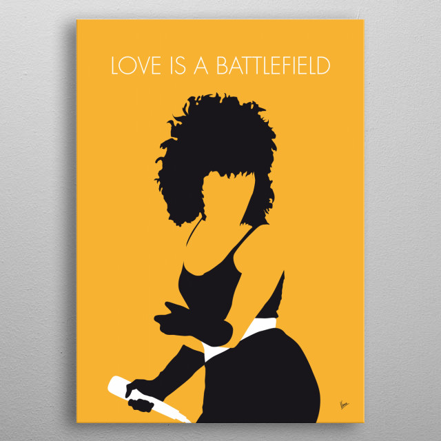 """""""Love Is a Battlefield"""" is a song performed by Pat Benatar. It was released in 1983 as a single from Benatar's live album Live from Earth.  metal poster"""