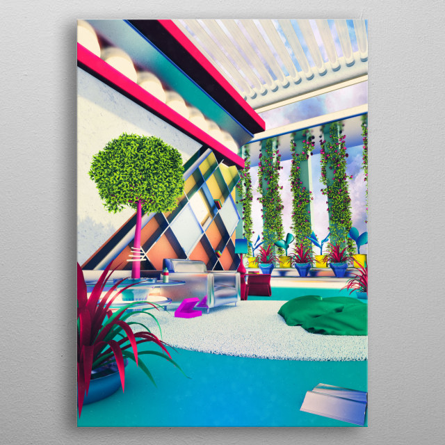 Futuristic living area with open space and plants. A place to thnk. metal poster