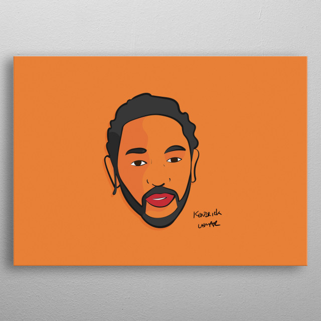 Kendrick Lamar illustration, minimal and vibrant, inspired by a pop art/Warhol style. Hip Hop fans will love this, will stand out on a wall metal poster