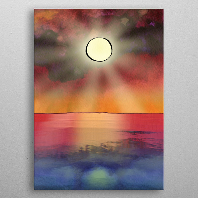 The picture is painted in watercolor on paper with some digital post-processing. The artwork inspired by the beauty of sunrises and sunsets. metal poster