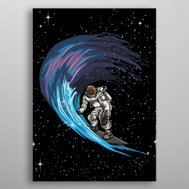 An out-of-this-world graphic adds a lively touch to this spaceman plate. Best decoration for your walk on the milky way or look into galaxy. metal poster