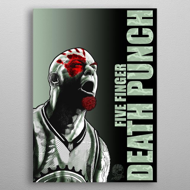 illustration of the Brutal vocalist of the group Five finger Death Punch metal poster
