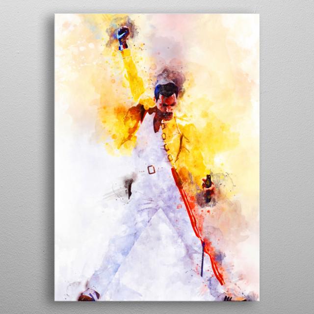 Freddie Mercury Print on Metal metal poster