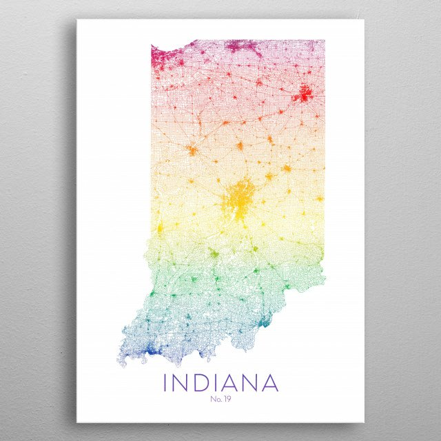 This gorgeous state map of Indiana shows its roads, rails, and trails in bright colors. The No. 19 indicates it's the 19th state.  metal poster