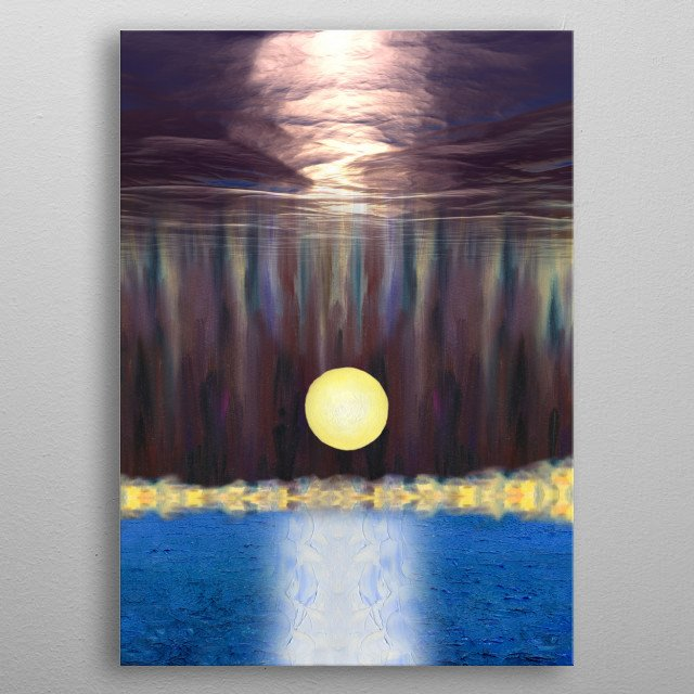 The picture is painted in oil on wood with some digital post-processing. The artwork inspired by the beauty of moonlit nights. metal poster
