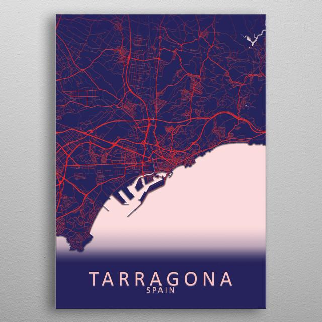 Tarragona Spain City Map metal poster