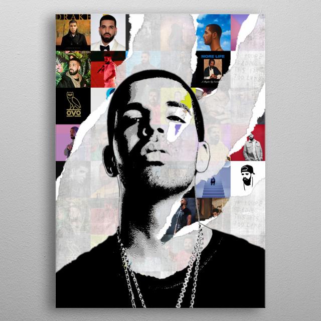 Illustration of Drake metal poster
