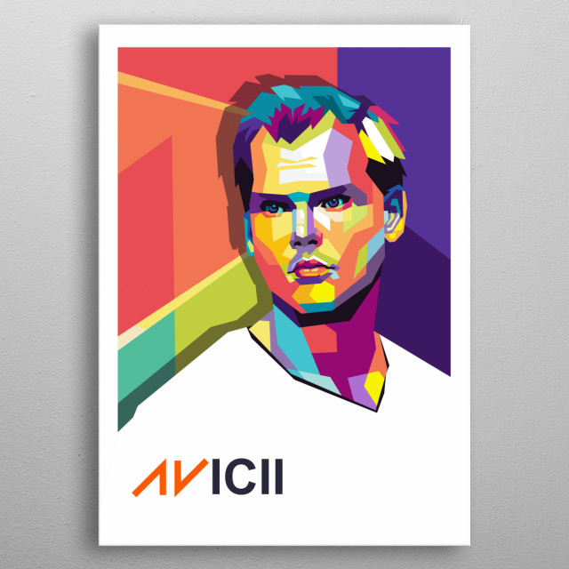 An illustration of a legend avicii in wpap art style  metal poster