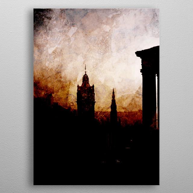 City of Edinburgh at dawn. metal poster